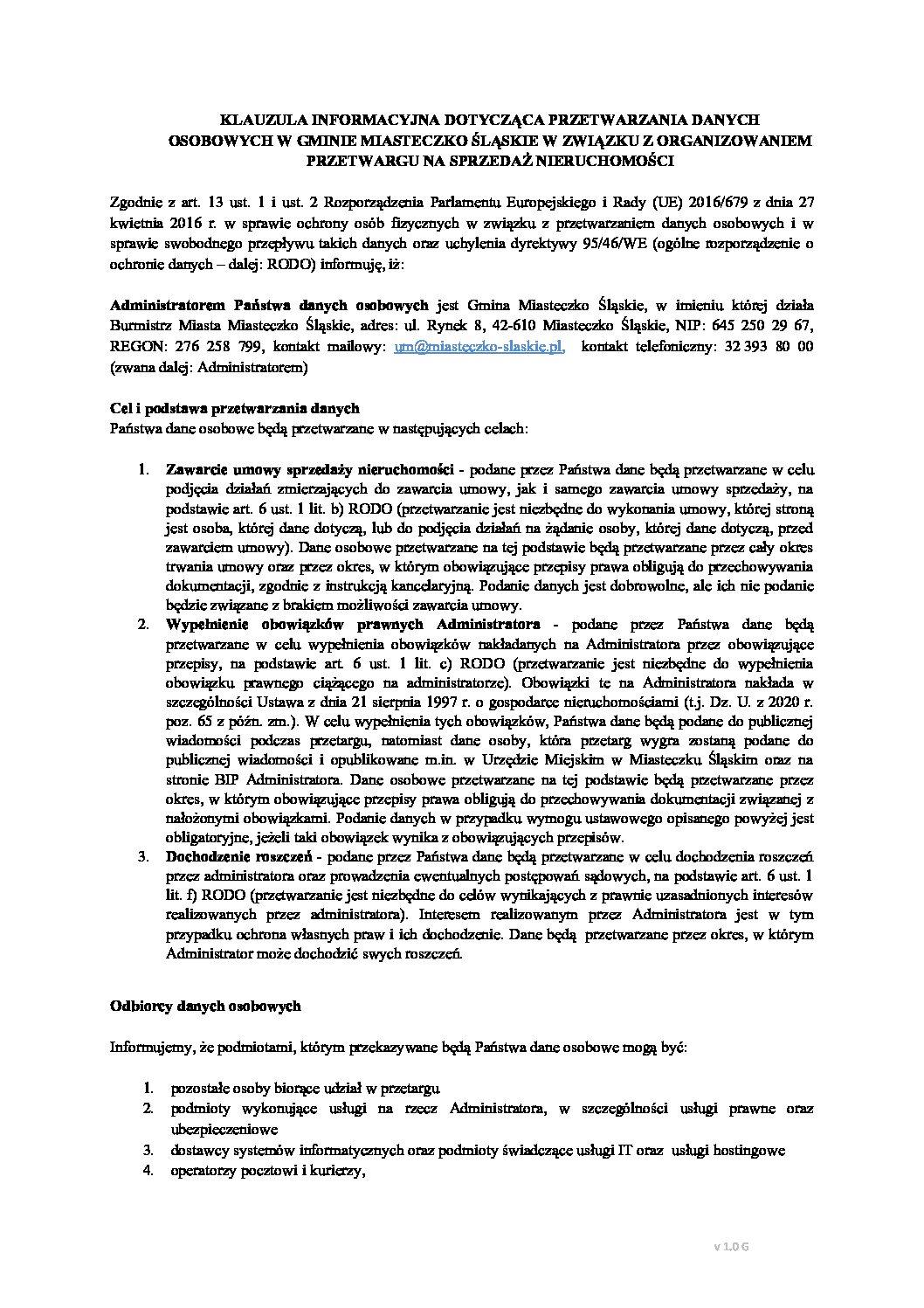 Ogłoszenie o pierwszym przetargu – ul. Jaworowa – działka nr 2565/80 i 2557/372