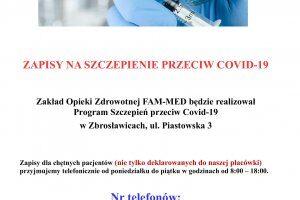 Informacja na temat szczepień.
